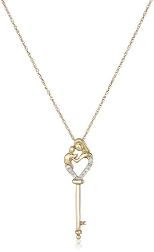 14k Yellow Gold Mother's Jewel Diamond-Accent Key Pendant Necklace, 18""