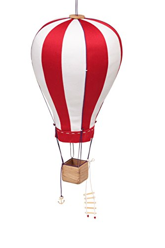Hanging Textile Hot Air Balloon Kid Room Decor Red White Large