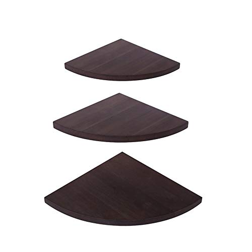 - OROPY Wall Mount Solid Wood Floating Corner Shelves Set of 3, Rustic Wall Storage Display Rack for Bedroom, Living Room, Kitchen, Office