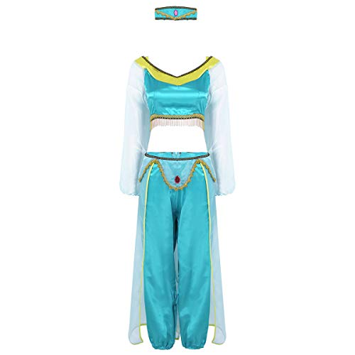 Agoky Women's 3 Pieces Halloween Fancy Dress Indian Princess Cosplay Outfits Tops Pants with Headwear Lake Green X-Large