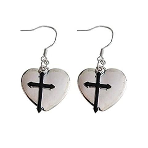 925 Silver Plated Two-Tone Black White Cross Heart Charm Women Dangle Drop Earrings (Black)