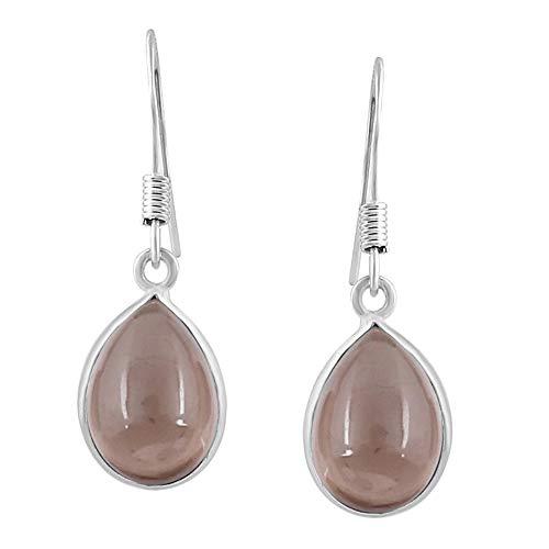 Smoky Quartz Tear Drop Dangle Earrings 925 Silver Plated Handmade Jewelry For Women Girls