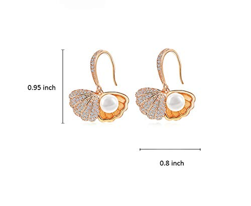 Rose Gold//Silver Tone Shell Clam with CZ Pearl Dangle Drop Earrings