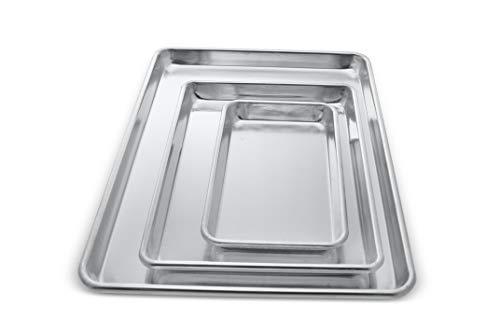 Crown 3-piece Baking Sheets, 6x10, 9x13, 13x18 inch, Commercial Quality Baking Sheet, Extra Sturdy, Pure Food-Grade Aluminum, Half Sheet Pan, Quarter Sheet Pan, Toaster Oven Pan