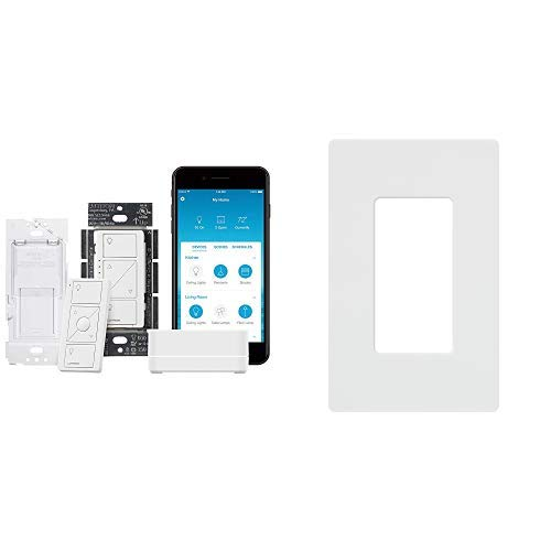 Lutron Caseta Wireless Smart Lighting Single Pole/3-way Dimmer Switch Starter Kit with Lutron Claro 1 Gang Decorator Wallplate, CW-1-WH, White by Lutron (Image #1)