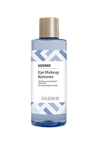 Amazon Brand - Solimo Eye Makeup Remover, Removes Waterproof Mascara, Dermatologist Tested, 5.5 Fluid Ounce (Best Mascara Remover For Waterproof Mascara)