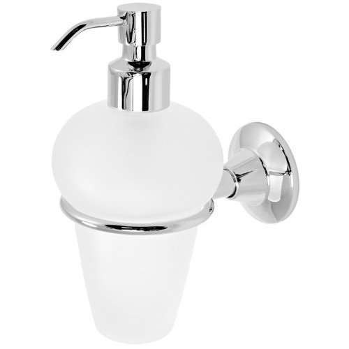 - Gedy 2781-13 Ascot Frosted Glass Soap Dispenser with Chrome Holder, 1.34
