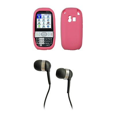 (Palm Centro 690 685 Premium Pink Silicone Gel Skin Cover Case + 2.5mm Stereo Headset for Palm Centro 690 685)