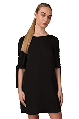 (Naked Zebra Women's Half Sleeve Ruched Dress Black )