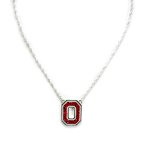 Drop of Silver College Football Ohio State Crystal Logo Necklace in Red ()