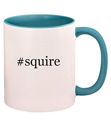 #squire - 11oz Hashtag Ceramic Colored Handle and Inside Coffee Mug Cup, Light Blue