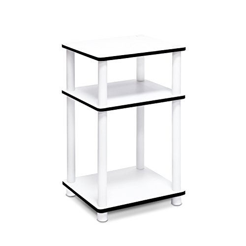Furinno S-11087WH Just 3-Tier No Tools Tube End Table, White