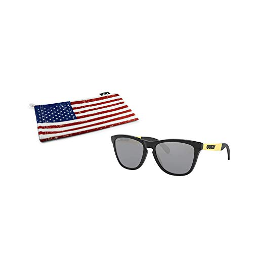 Oakley Frogskins Mix Sunglasses (Polished Black/Gold Frame, Prizm Black Lens) with Country Flag ()