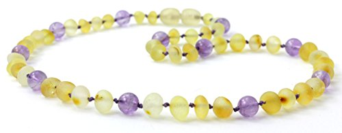 Raw Baltic Amber Teething Necklace Made with Amethyst Beads - Sizes from 11 to 14.2 inches (Baby/Toddler / Children) - BoutiqueAmber (12.5 inches, Raw Lemon/Amethyst)