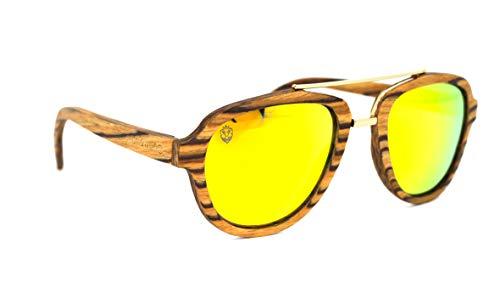 Óculos De Sol De Madeira E Metal Lepke Yellow, MafiawooD