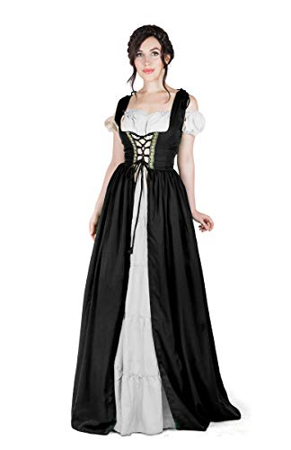 (Boho Set Medieval Irish Costume Chemise and Over Dress (L/XL,)