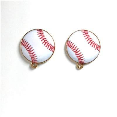 Laliva Accessories - 10pcs Gold Base Enamel Sport Charms for Jewelry Making Football Baseball Soccer Pendant Charm Bracelet Handmade DIY Z377 - (Color: Baseball)
