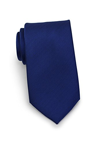 - Bows-N-Ties Men's Necktie Solid Color Herringbone Matte Microfiber Tie 3.1 Inches (Navy)