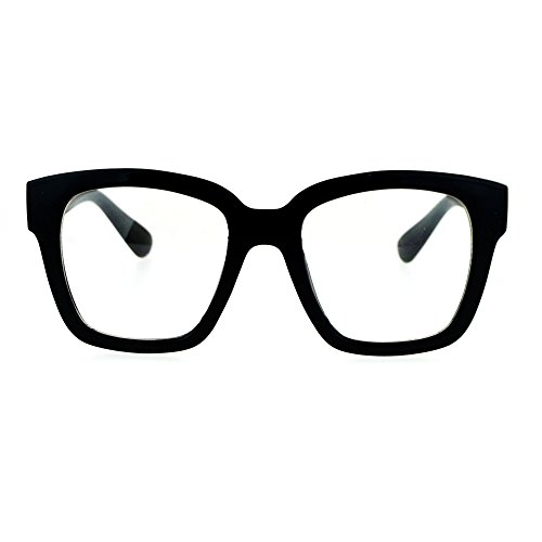 Nerdy Oversize Thick Horn Rim Clear Lens Fashion Eye Glasses - Black Rim Glasses Thick
