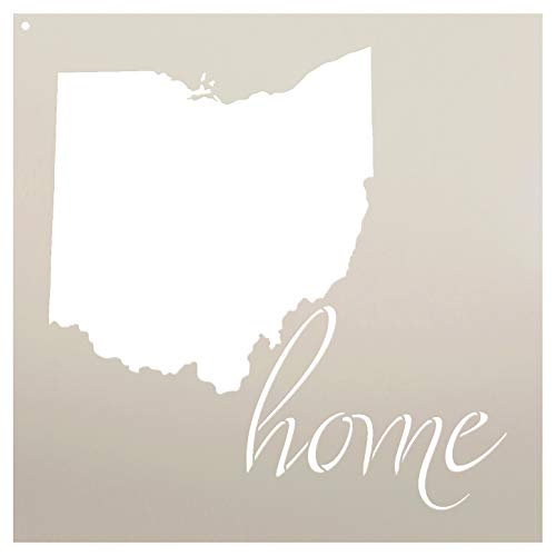 Home - Ohio - State Stencil - by StudioR12   Reusable Mylar Template   Use to Paint Wood Signs - Pallets - Pillows - T-Shirts - DIY Home Decor - Select Size (13