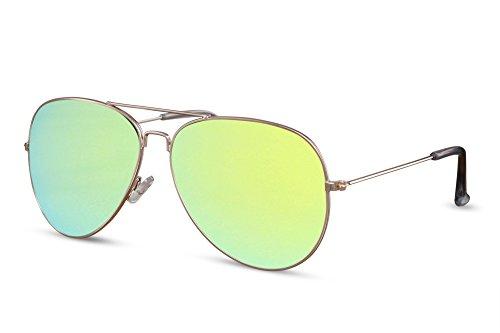 Espejadas 013 Amarillo Metálicas de Cheapass UV Gafas Piloto Aviador Ca Hombres Gafas 400 Sol Diseñador Mujeres 6Inwgfqx
