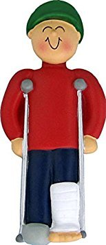 On Crutches - Christmas Ornament (Male)