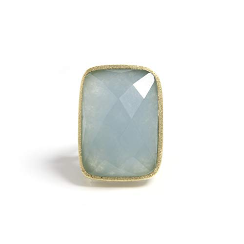 - Rivka Friedman 18K Gold Clad Caribbean Quartzite Bold Rectangular Open Shank Cocktail Ring