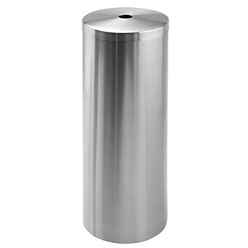 mdesign toilettenpapierhalter aluminium schicker freistehender klopapierhalter der ideale papierrollenhalter edelstahl gebrstet - Moderner Freistehender Toilettenpapierhalter