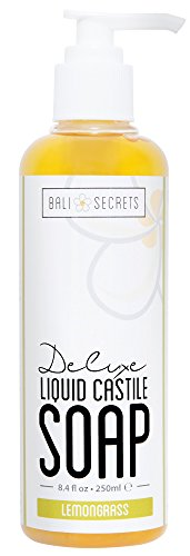 Bali Secrets Deluxe Liquid Castile Soap - Lemongrass - All Natural Ingredients - Vegan - Made with Premium Oils - Biodegradable - For Body & Face - Handcrafted in Small (Deluxe Liquid Soap)