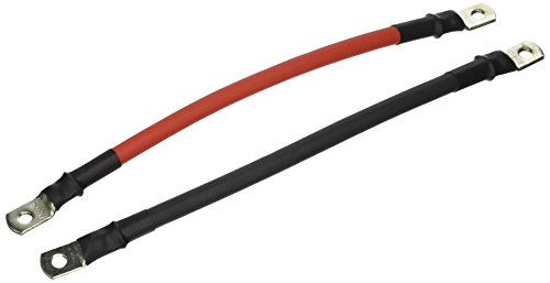 2 AWG Gauge Red + Black Pure Copper Battery Inverter Cables Solar, RV, Car, Boat 12 in 5/16 in Lugs