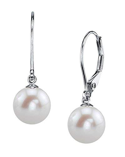 THE PEARL SOURCE 14K Gold 8-9mm AAAA Quality Round White Freshwater Cultured Pearl Leverback Earrings for Women