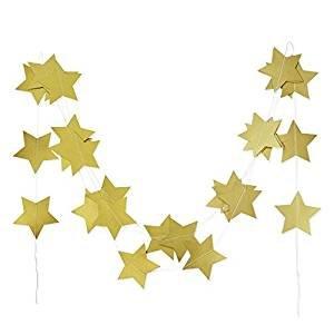 SUNBEAUTY 4 metros cadena guirnalda de estrella decoració n para celebració n fiesta cumpleañ os (oro)