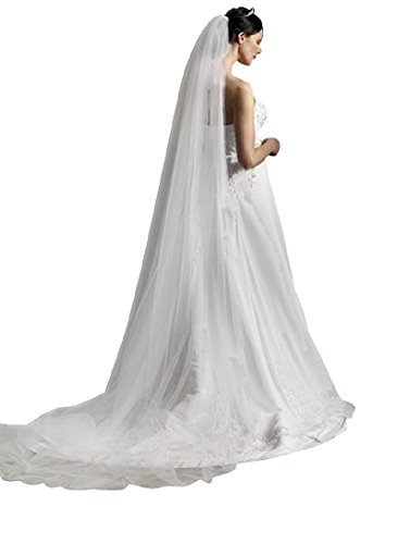 Shop Ginger Wedding 1T Cut Edge Bridal Veil Extra Wide Handmade (Royal, Glimmer White)