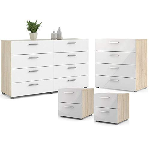 Home Square Contemporary Style 4 Piece Bedroom Set with Two Nightstands, 8 Drawer Double Dresser and 4 Drawer Chest in…