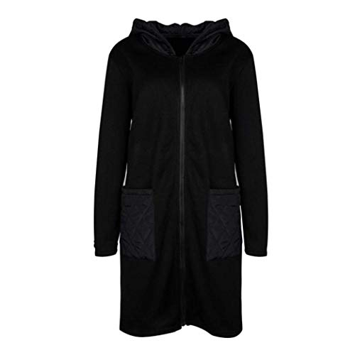 Invernali Trench Tasche Elegante Lunga Donna Anteriori Con Cappuccio Giovane Schwarz Abbigliamento Monocromo Manica Vento Cerniera Giacca Moda Outwear tqO8XYwxx