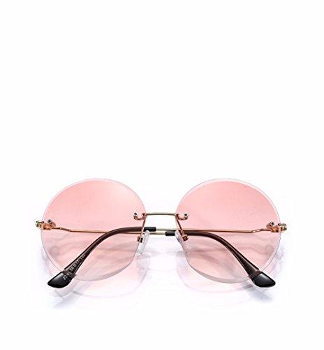 Rosa chica cortante ningún sol personalidad Gafas cuadro marrón gradiente borde de transparentes gafas redonda XIAOGEGE 6Rqawg