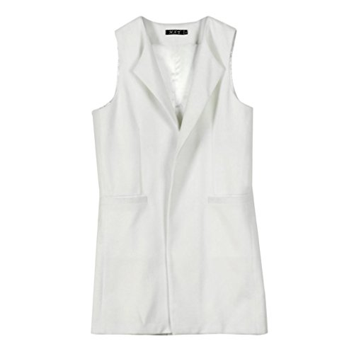TIanranRT Womens Loose Fashion Solid Sleeveless Waistcoat Vest, Casual Gilet Jacket Coat, Parka Outwear, Open Front Long Cardigan with Pockets White