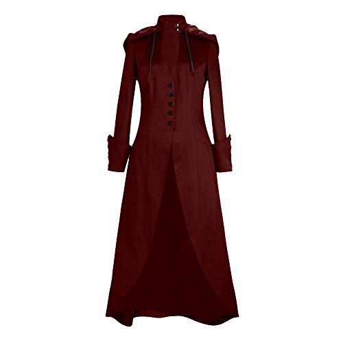 LISTHA Vintage Lace Up Slim Long Coat Women Button Cape Swing Tailcoat Outwear