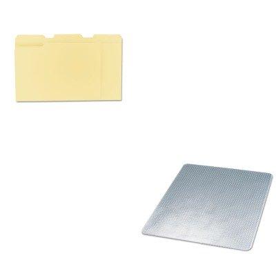 KITDEFCM14243UNV12113 - Value Kit - Deflect-o SuperMat Studded Beveled Mat for Medium Pile Carpet (DEFCM14243) and Universal File Folders (UNV12113) Supermat Studded Beveled Mat