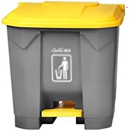 HeWHui 30L〜87L:厚いプラスチックゴミは、大型の屋外ゴミ箱はタイプガーデンストリートクラシファイドごみ箱容量をペダルことができ 古紙バスケット (Color : Yellow, Size : 30L)