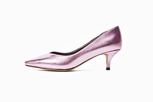 Latasa Femmes Point-toe Talon Kitten Pompes Rose Violacé