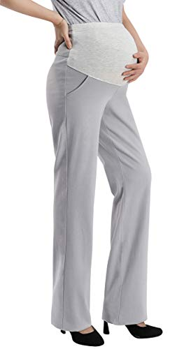 - Foucome Maternity Work Pants Womens Flare Leg Dress Pants Bootcut Stretch High Waist Pregnancy Trousers with Pockets Gray