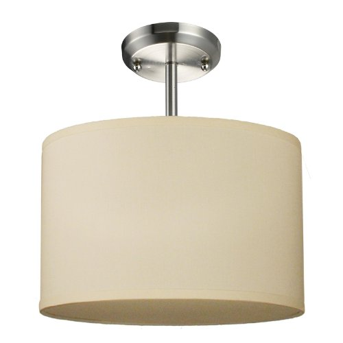 Albion 1 Light Pendant - Z-Lite 171-12C-SF Albion One Light Pendant, Metal Frame, Brushed Nickel Finish and Off White Linen Fabric Shade of Fabric Material