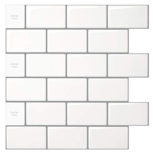 10-Sheet Peel and Stick Tile for Kitchen Backsplash, 12x12 inches White Subway -