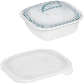 Corelle Bake, Serve, Store 1.5-qt Square Bakeware Dish w/ Glass & Plastic Covers