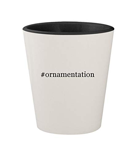 #ornamentation - Ceramic Hashtag White Outer & Black Inner 1.5oz Shot Glass