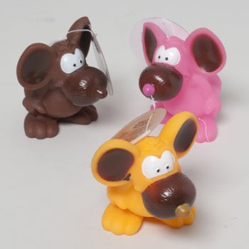 DOG TOY VINYL MOUSE 4 INCH W/ SQUEAKER 3 COLORS IN PDQ, Case Pack of 72 by DollarItemDirect