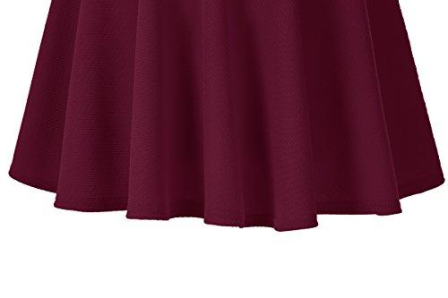 Femmes GoCo Patineuse Rouge Midi Plisse Court Rtro Vin Elastique Urban longue Jupe Fille Jupe Basique 54qTT1