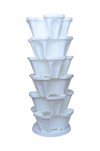 Malhotra Plastic Plastic Stack-A-Pot for Floor Set (White, 7