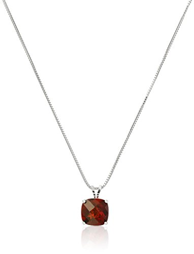 Sterling Silver Cushion-Cut Checkerboard Garnet Pendant Necklace (8mm)